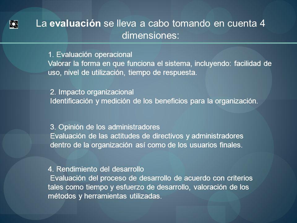 La evaluación se lleva a cabo tomando en cuenta 4 dimensiones: 1.