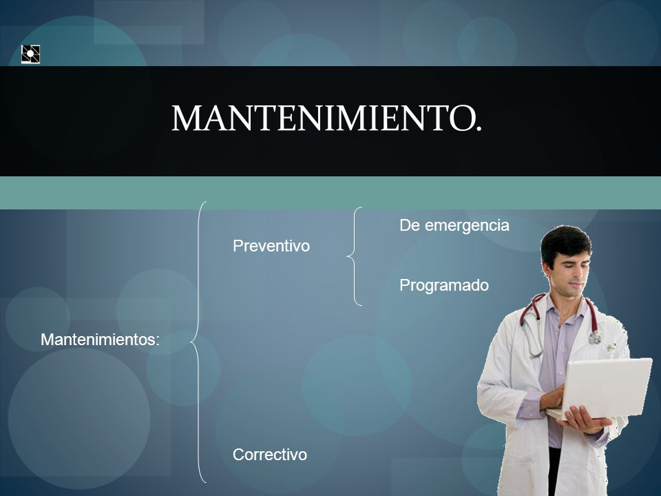 MANTENIMIENTO. Mantenimientos: Preventivo Correctivo De emergencia Programado