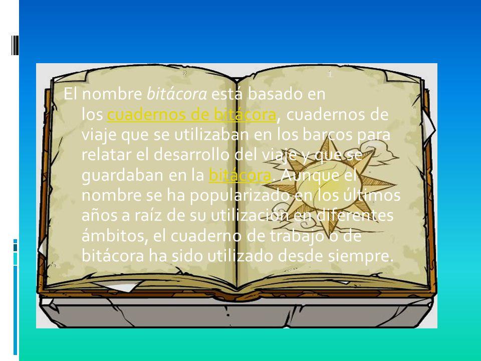 El nombre bitácora está basado en los cuadernos de bitácora, cuadernos de viaje que se utilizaban en los barcos para relatar el desarrollo del viaje y que se guardaban en la bitácora.