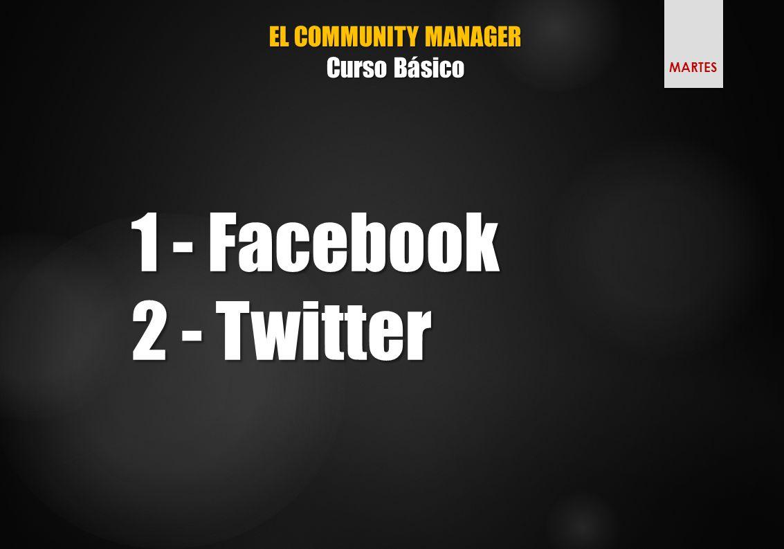 EL COMMUNITY MANAGER Curso Básico 1 - Facebook 2 - Twitter MARTES