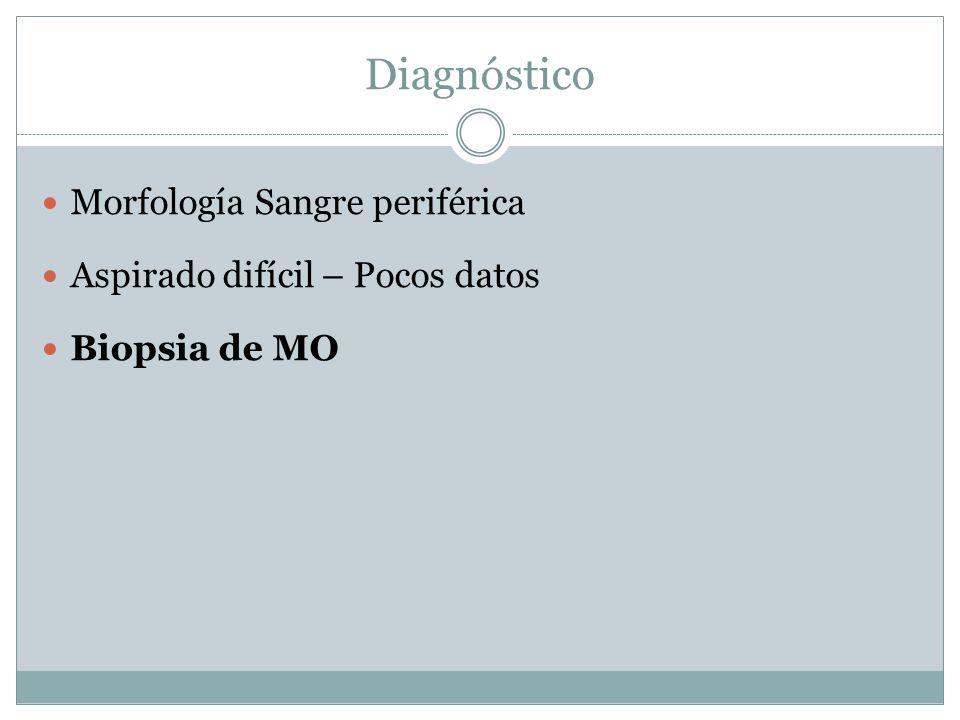 Diagnóstico Morfología Sangre periférica Aspirado difícil – Pocos datos Biopsia de MO