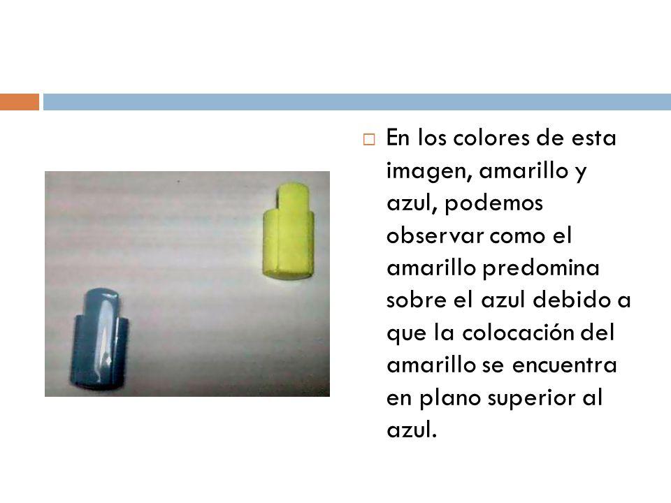 En los colores de esta imagen, amarillo y azul, podemos observar como el amarillo predomina sobre el azul debido a que la colocación del amarillo se e