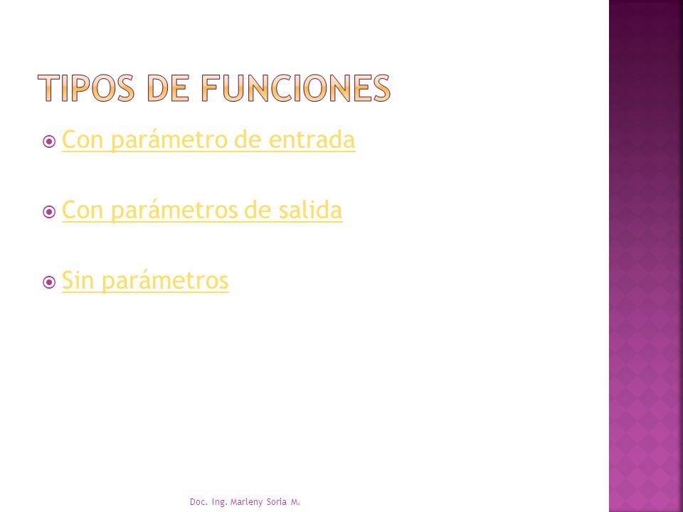 Con parámetro de entrada Con parámetros de salida Sin parámetros Doc. Ing. Marleny Soria M.