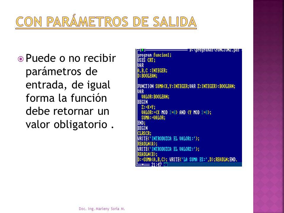 Puede o no recibir parámetros de entrada, de igual forma la función debe retornar un valor obligatorio.