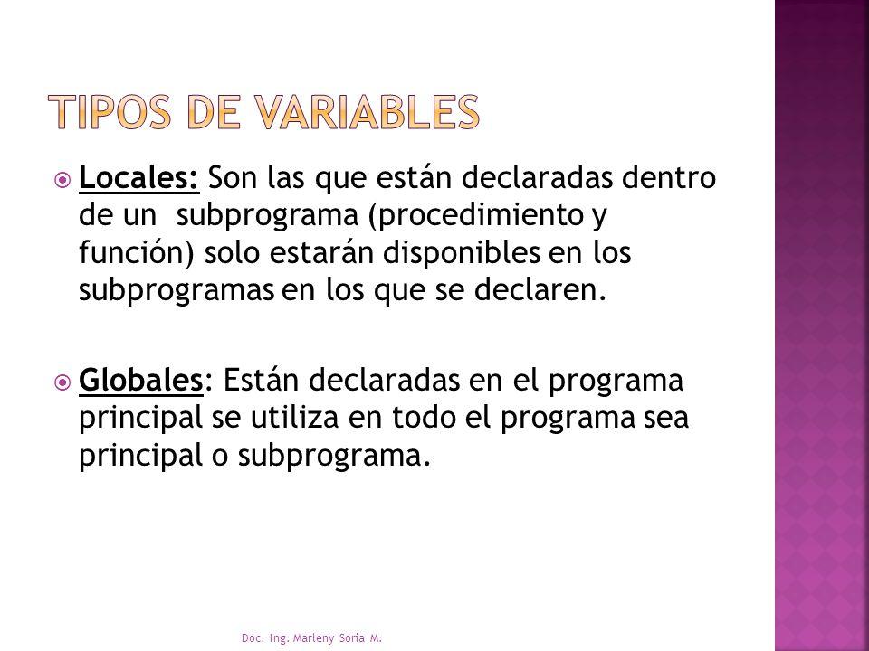 Locales: Son las que están declaradas dentro de un subprograma (procedimiento y función) solo estarán disponibles en los subprogramas en los que se declaren.