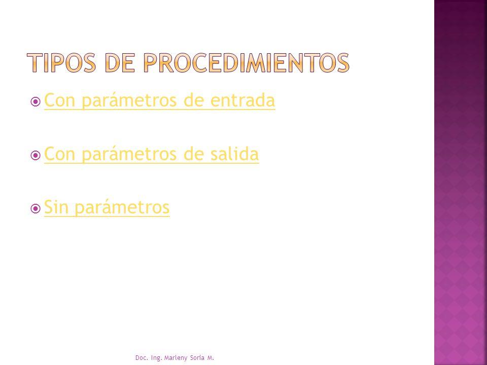 Con parámetros de entrada Con parámetros de salida Sin parámetros Doc. Ing. Marleny Soria M.