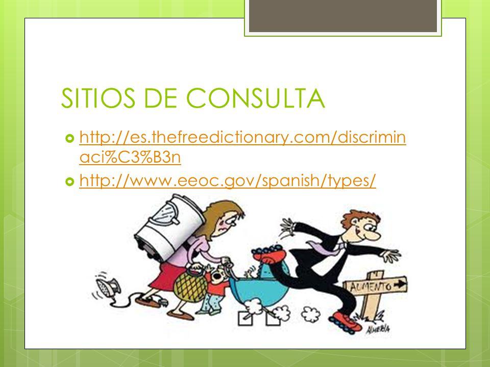SITIOS DE CONSULTA http://es.thefreedictionary.com/discrimin aci%C3%B3n http://es.thefreedictionary.com/discrimin aci%C3%B3n http://www.eeoc.gov/spani