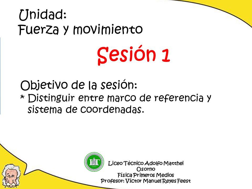 Objetivo de la sesión: *Distinguir entre marco de referencia y sistema de coordenadas. Liceo Técnico Adolfo Matthei Osorno Física Primeros Medios Prof