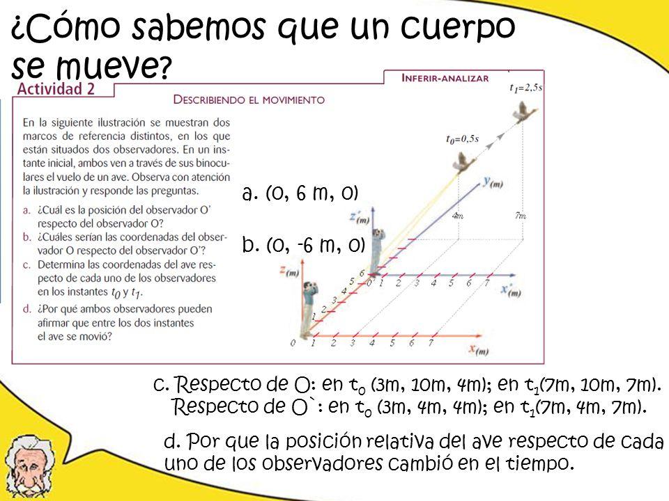 ¿Cómo sabemos que un cuerpo se mueve? a. (0, 6 m, 0) c. Respecto de O: en t 0 (3m, 10m, 4m); en t 1 (7m, 10m, 7m). Respecto de O`: en t 0 (3m, 4m, 4m)