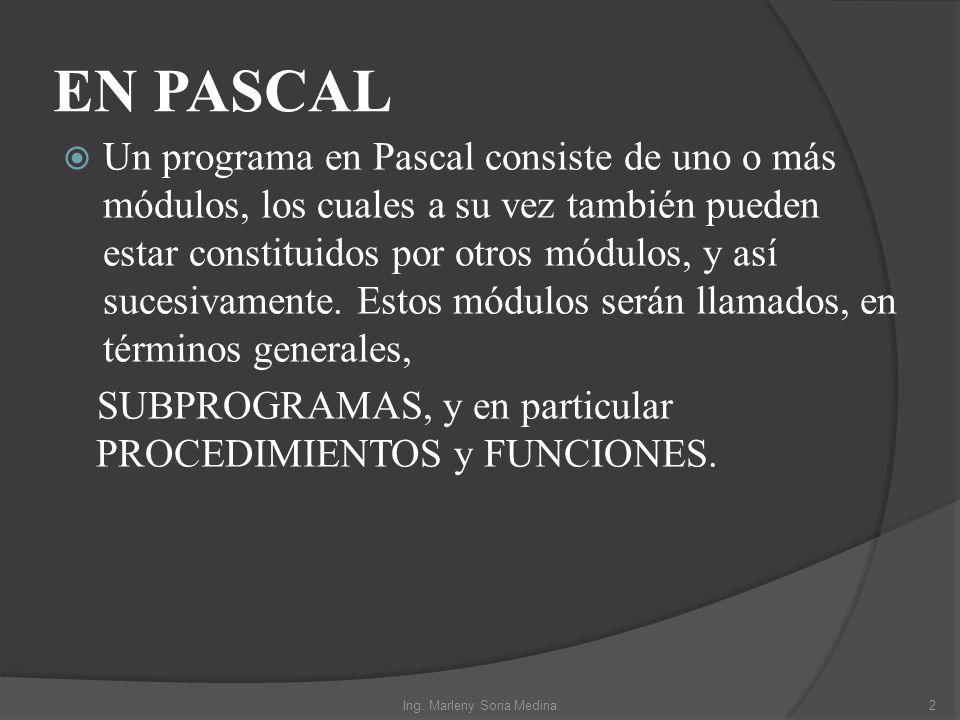 EN PASCAL Un programa en Pascal consiste de uno o más módulos, los cuales a su vez también pueden estar constituidos por otros módulos, y así sucesiva