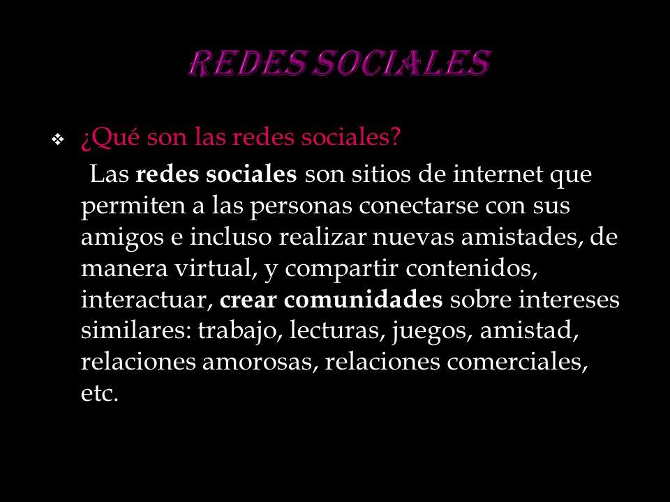 ¿Qué son las redes sociales? Las redes sociales son sitios de internet que permiten a las personas conectarse con sus amigos e incluso realizar nuevas