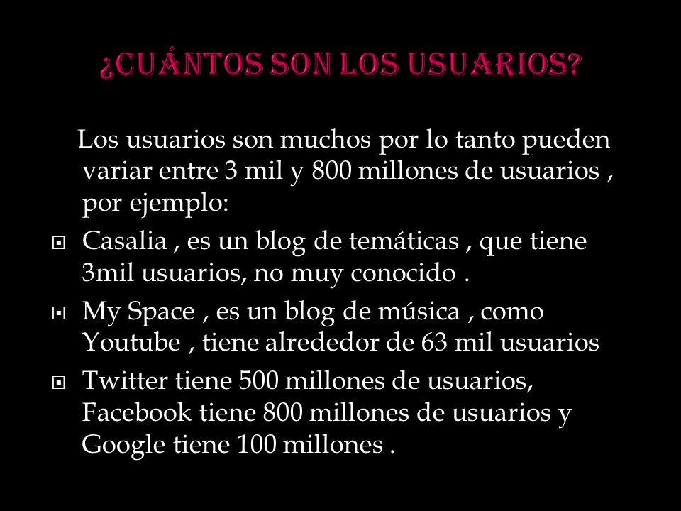 Los usuarios son muchos por lo tanto pueden variar entre 3 mil y 800 millones de usuarios, por ejemplo: Casalia, es un blog de temáticas, que tiene 3m