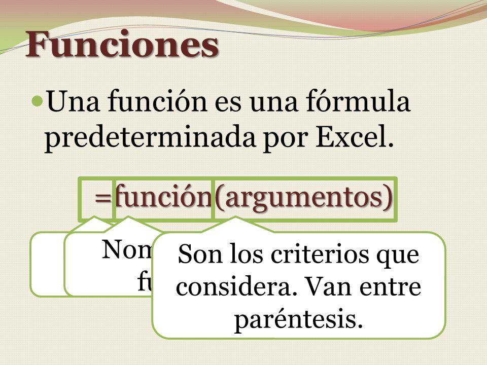 Funciones Una función es una fórmula predeterminada por Excel. =función(argumentos) Siempre inicia con el signo = Nombre de la función Son los criteri