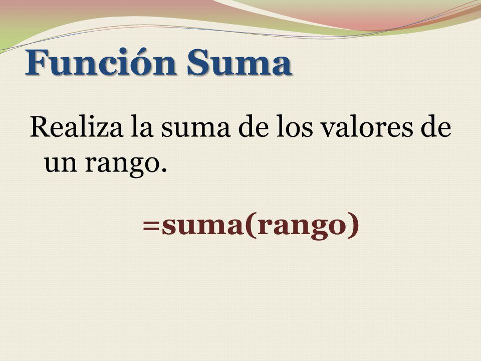 Función Suma Realiza la suma de los valores de un rango. =suma(rango)