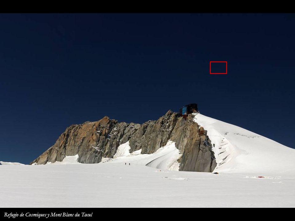 La Ruta de los Cuatromiles desde la Aiguille du Midi Refugio de Cosmiques Mont Blanc du Tacul Mont Blanc Mont Maudit Les Bosses Ref. Vallot Dôme du Go