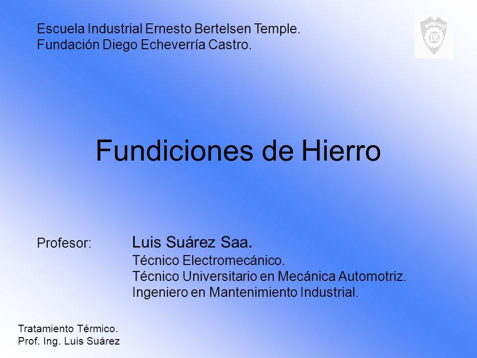 Fundiciones de Hierro Profesor: Luis Suárez Saa. Técnico Electromecánico. Técnico Universitario en Mecánica Automotriz. Ingeniero en Mantenimiento Ind