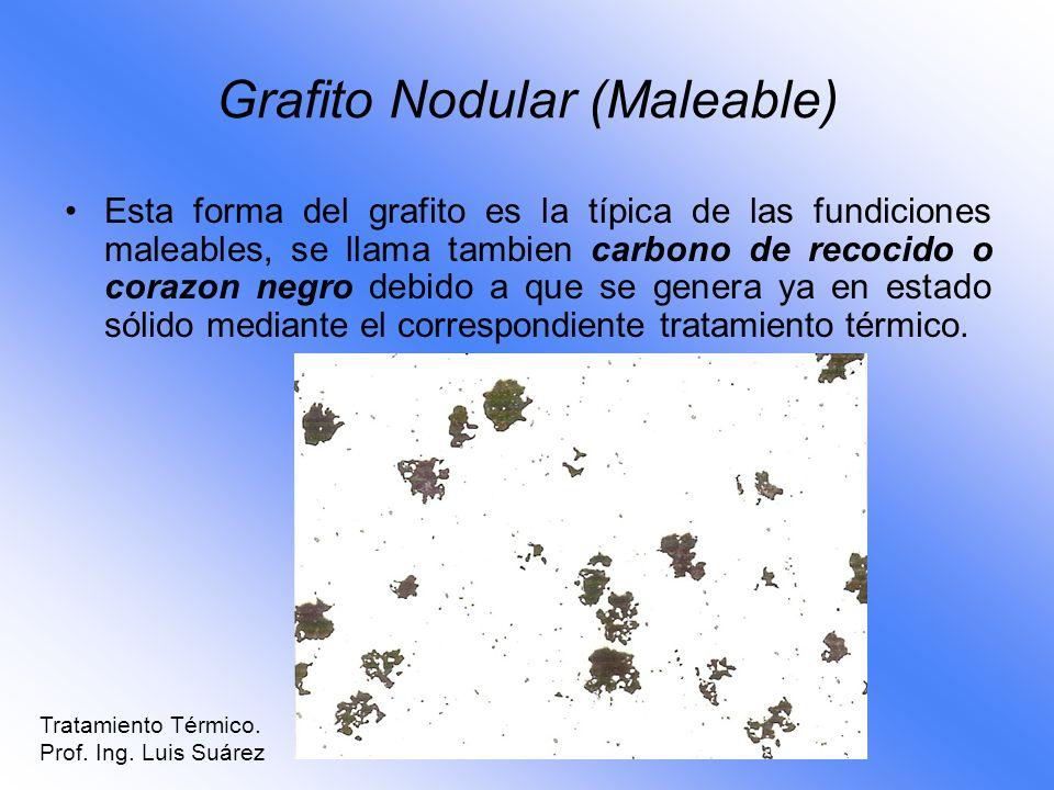 Grafito Nodular (Maleable) Esta forma del grafito es la típica de las fundiciones maleables, se llama tambien carbono de recocido o corazon negro debi