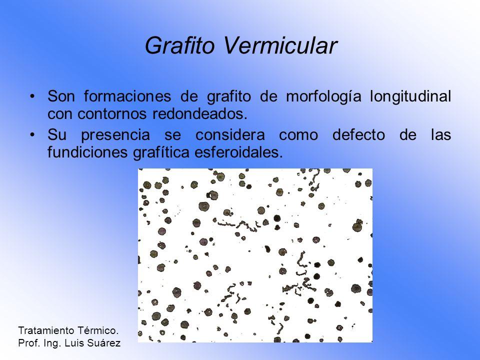 Grafito Vermicular Son formaciones de grafito de morfología longitudinal con contornos redondeados. Su presencia se considera como defecto de las fund