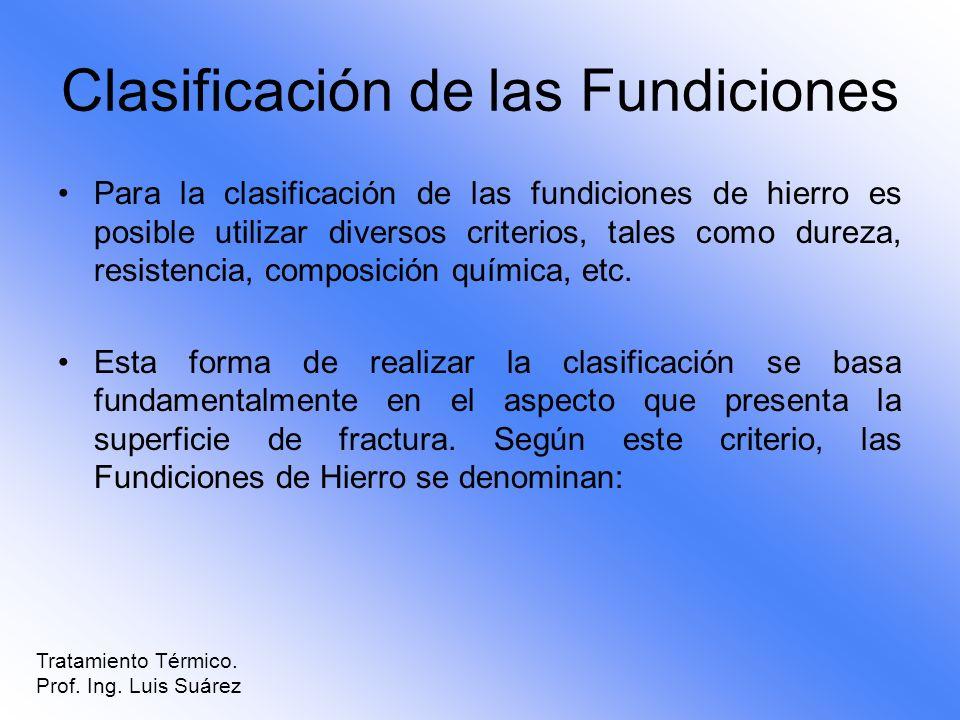 Clasificación de las Fundiciones Para la clasificación de las fundiciones de hierro es posible utilizar diversos criterios, tales como dureza, resiste