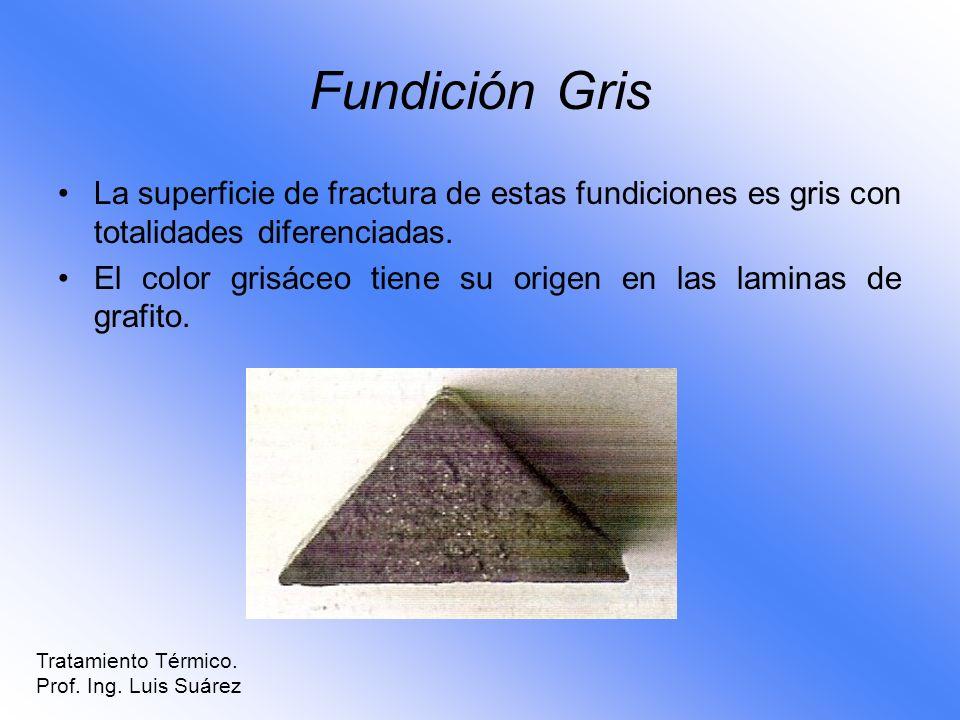 Fundición Gris La superficie de fractura de estas fundiciones es gris con totalidades diferenciadas. El color grisáceo tiene su origen en las laminas