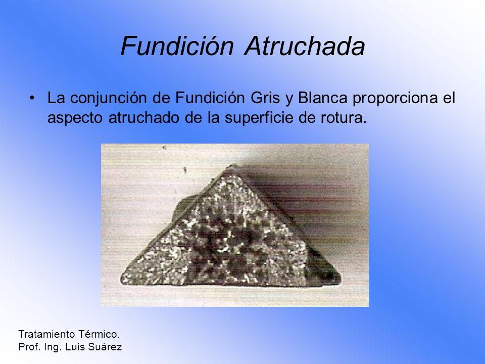 Fundición Atruchada La conjunción de Fundición Gris y Blanca proporciona el aspecto atruchado de la superficie de rotura. Tratamiento Térmico. Prof. I