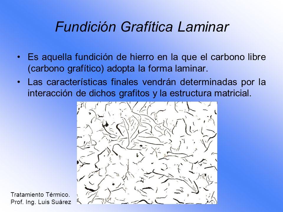 Fundición Grafítica Laminar Es aquella fundición de hierro en la que el carbono libre (carbono grafítico) adopta la forma laminar. Las características