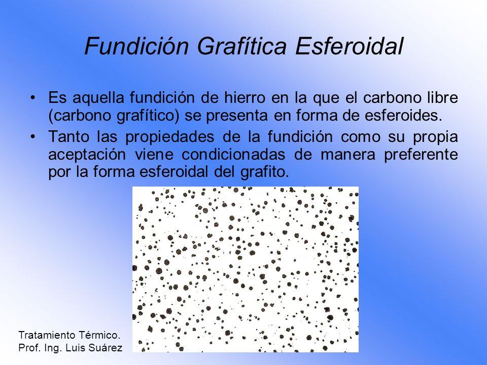 Fundición Grafítica Esferoidal Es aquella fundición de hierro en la que el carbono libre (carbono grafítico) se presenta en forma de esferoides. Tanto