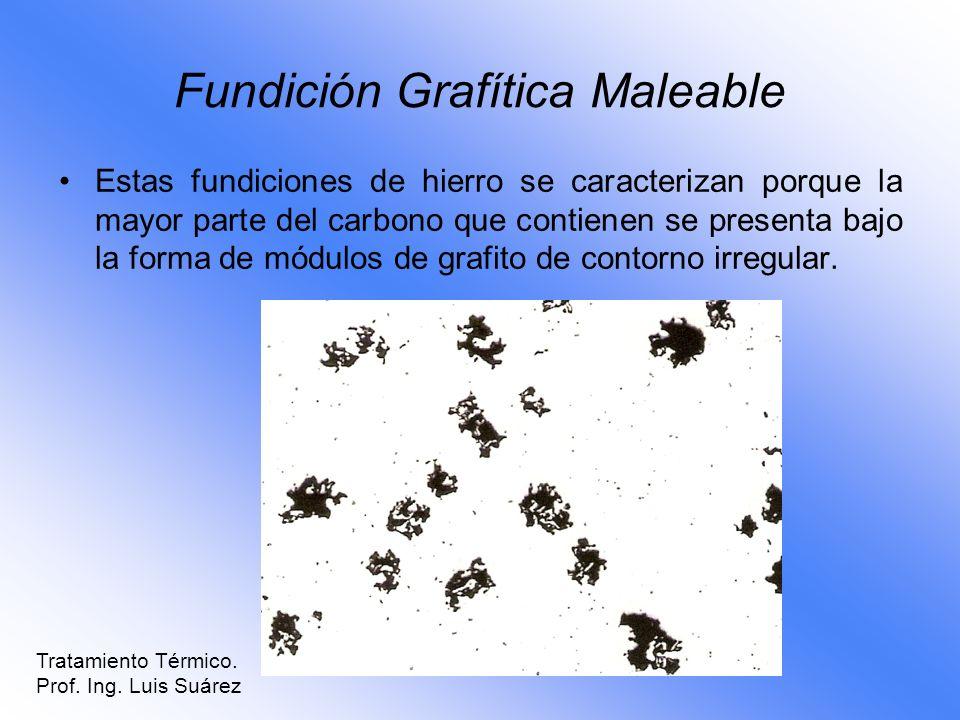 Fundición Grafítica Maleable Estas fundiciones de hierro se caracterizan porque la mayor parte del carbono que contienen se presenta bajo la forma de