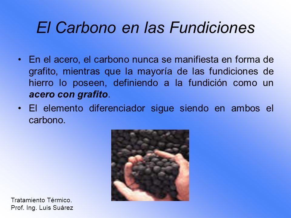 El Carbono en las Fundiciones En el acero, el carbono nunca se manifiesta en forma de grafito, mientras que la mayoría de las fundiciones de hierro lo