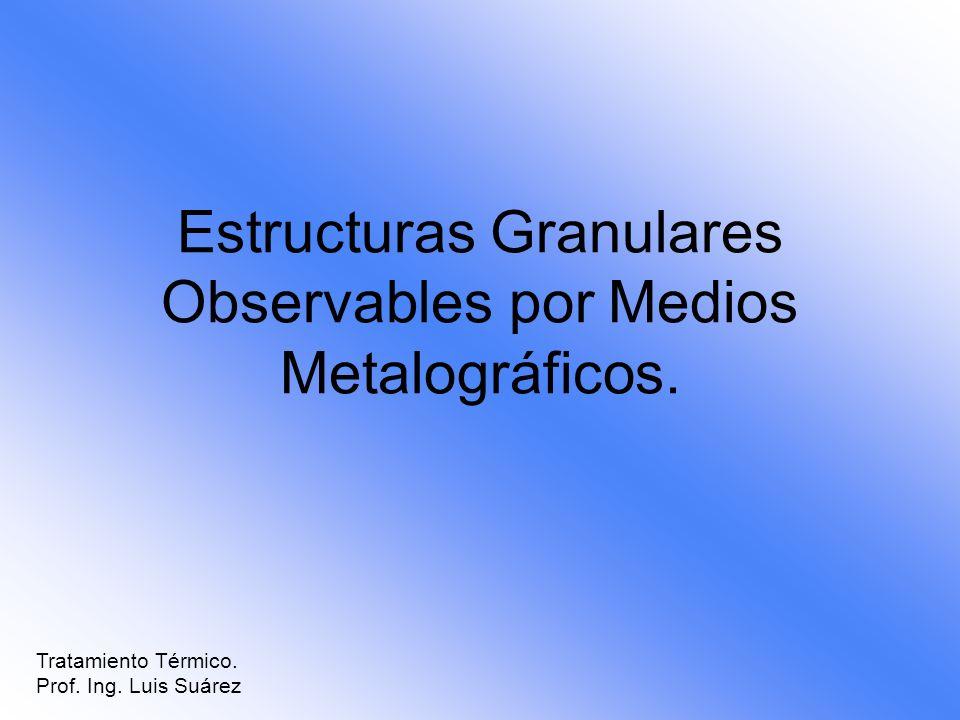 Estructuras Granulares Observables por Medios Metalográficos. Tratamiento Térmico. Prof. Ing. Luis Suárez