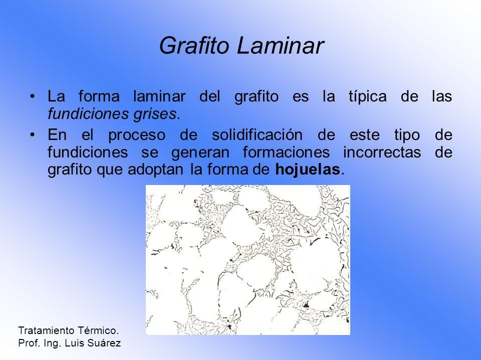 Grafito Laminar La forma laminar del grafito es la típica de las fundiciones grises. En el proceso de solidificación de este tipo de fundiciones se ge
