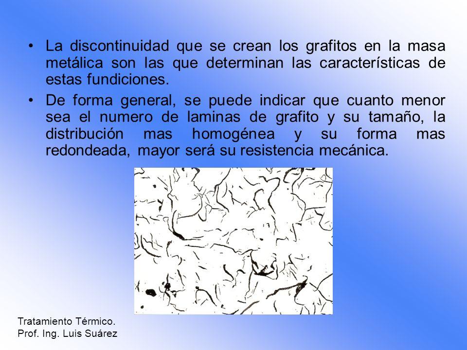 La discontinuidad que se crean los grafitos en la masa metálica son las que determinan las características de estas fundiciones. De forma general, se