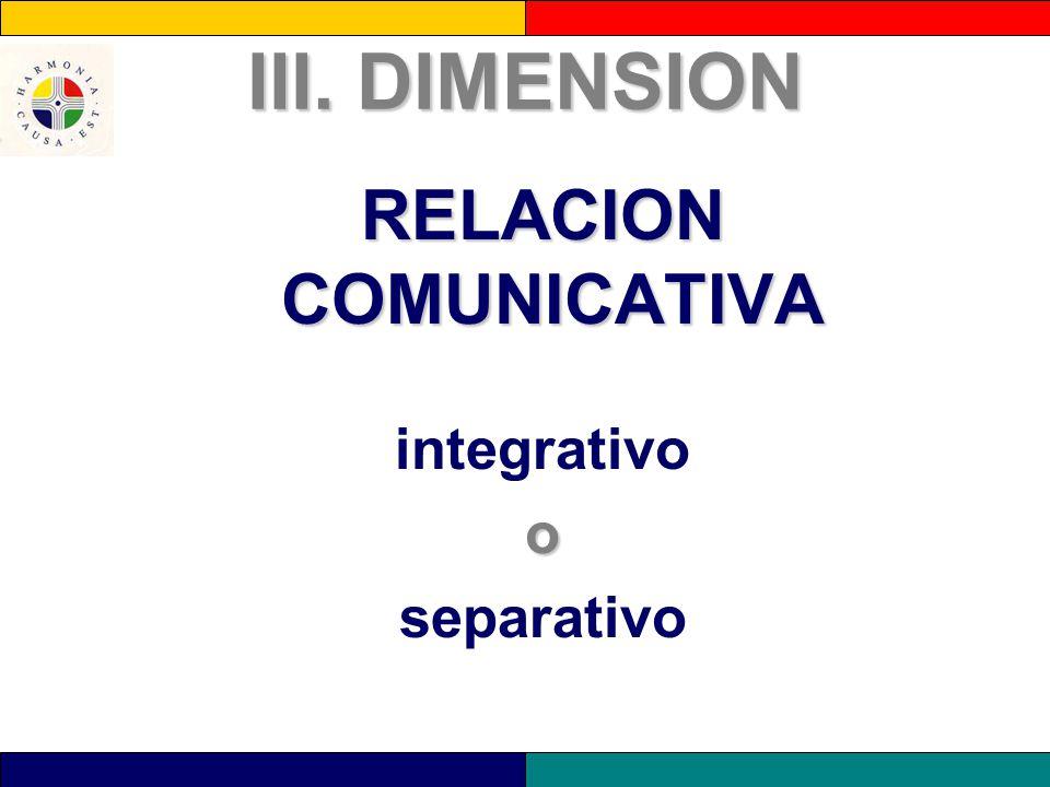 III. DIMENSION RELACION COMUNICATIVA integrativoo separativo