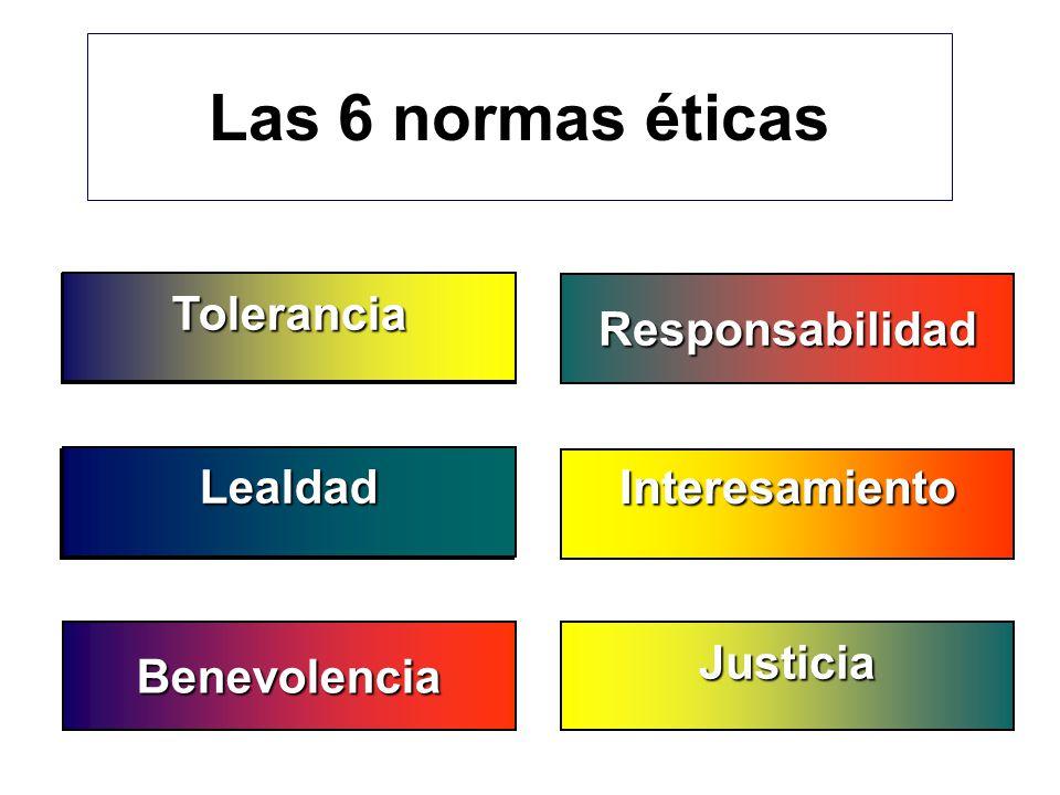 Las 6 normas éticas Interesamiento Justicia Responsabilidad Benevolencia Gerechtigkeit Toleranz Tolerancia Lealdad