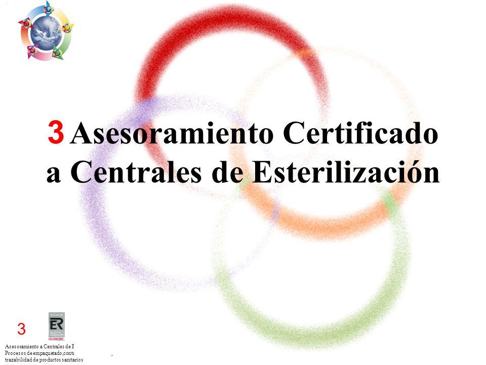 Asesoramiento a Centrales de Esterilización para los Procesos de empaquetado,control esterilización y trazabilidad de productos sanitarios 3 3 Asesora