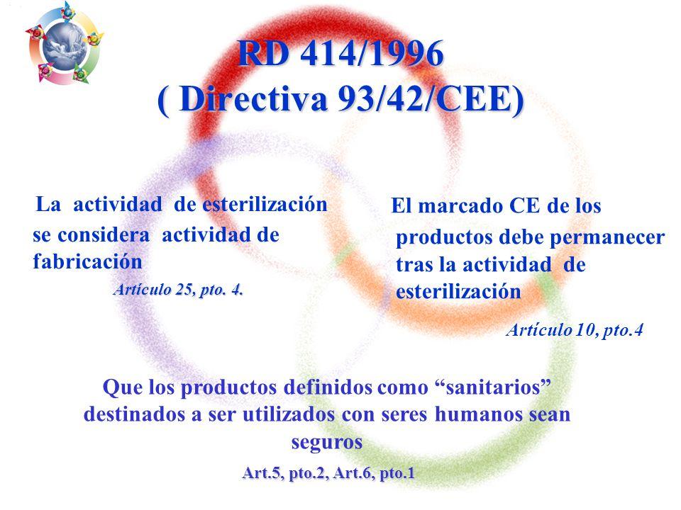 Asesoramiento a Centrales de Esterilización para los Procesos de empaquetado,control esterilización y trazabilidad de productos sanitarios 3 RD 414/1996 ( Directiva 93/42/CEE) RD 414/1996 ( Directiva 93/42/CEE) (desarrolla las leyes para ofrecer a pacientes y usuarios protección elevada y satisfacer las prestaciones asignadas por el fabricante) 1.Demostrar conformidad 1.Demostrar conformidad, haciendo referencia a las Normas CEN (Normas UNE) 2.Aplicación del Sistema de Garantía de Calidad (Control de Calidad) »Trazabilidad »Validación »Certificación