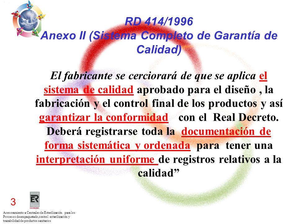 Asesoramiento a Centrales de Esterilización para los Procesos de empaquetado,control esterilización y trazabilidad de productos sanitarios 3 RD 414/19