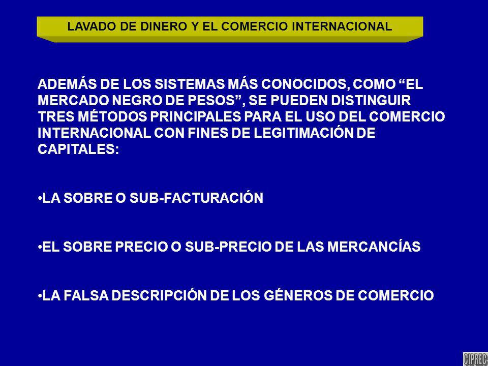 ADEMÁS DE LOS SISTEMAS MÁS CONOCIDOS, COMO EL MERCADO NEGRO DE PESOS, SE PUEDEN DISTINGUIR TRES MÉTODOS PRINCIPALES PARA EL USO DEL COMERCIO INTERNACIONAL CON FINES DE LEGITIMACIÓN DE CAPITALES: LA SOBRE O SUB-FACTURACIÓN EL SOBRE PRECIO O SUB-PRECIO DE LAS MERCANCÍAS LA FALSA DESCRIPCIÓN DE LOS GÉNEROS DE COMERCIO