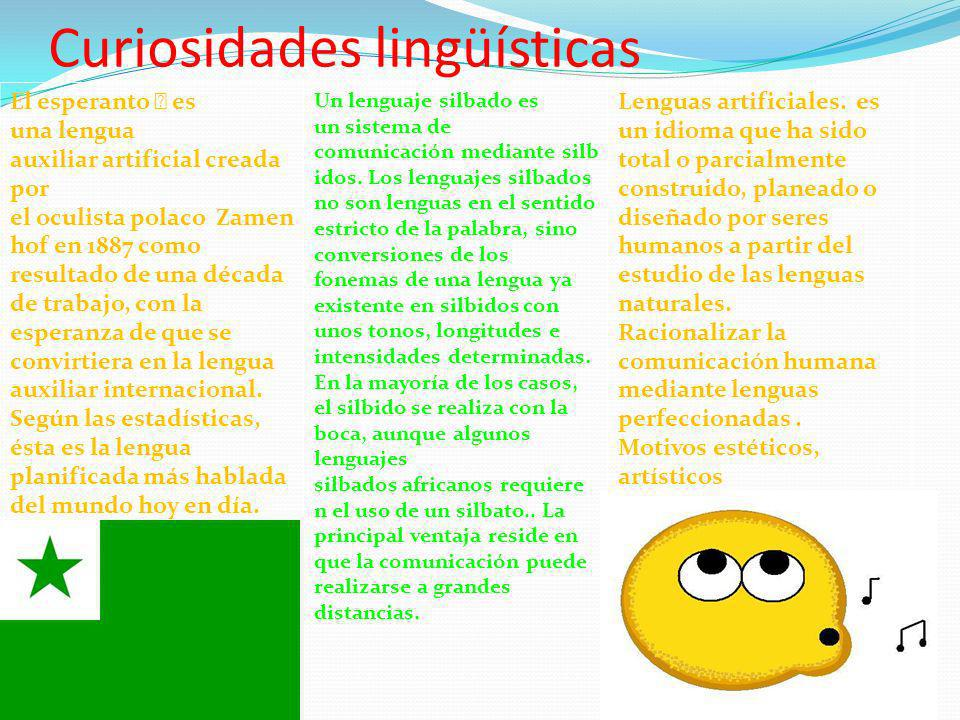Curiosidades lingüísticas El esperanto es una lengua auxiliar artificial creada por el oculista polaco Zamen hof en 1887 como resultado de una década