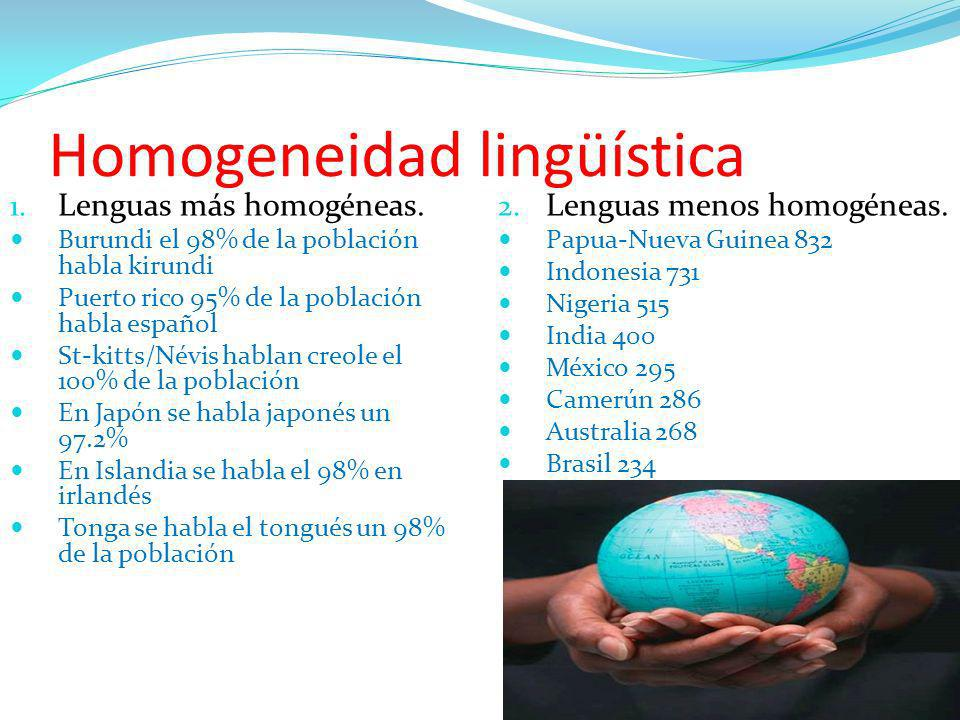 Homogeneidad lingüística 1. Lenguas más homogéneas. Burundi el 98% de la población habla kirundi Puerto rico 95% de la población habla español St-kitt