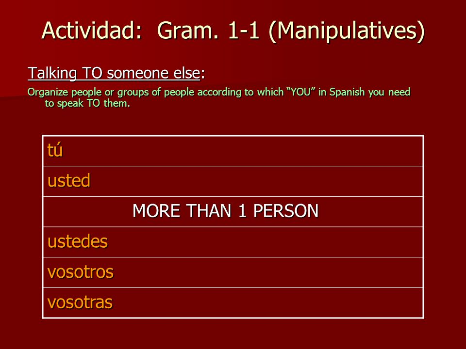 Actividad: Gram. 1-1 (Manipulatives) Talking TO someone else: Organize people or groups of people according to which YOU in Spanish you need to speak