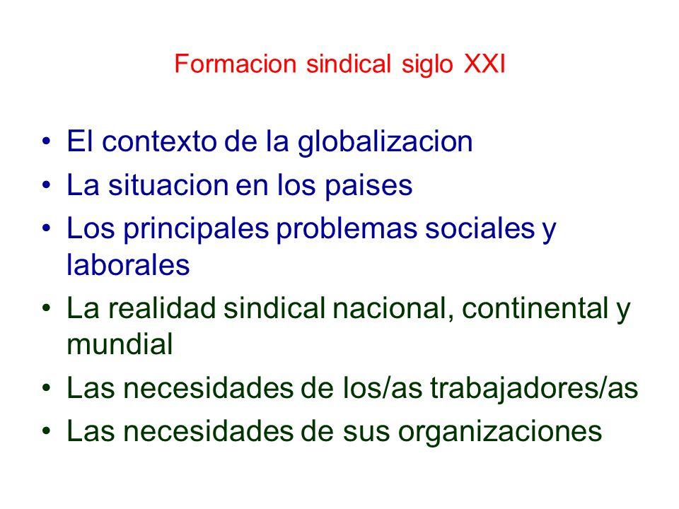 Formacion sindical siglo XXI El contexto de la globalizacion La situacion en los paises Los principales problemas sociales y laborales La realidad sin
