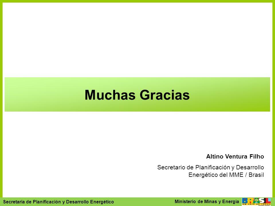Secretaria de Planejamento e Desenvolvimento Energético - SPE Secretaria de Planificación y Desarrollo Energético Ministerio de Minas y Energía Muchas