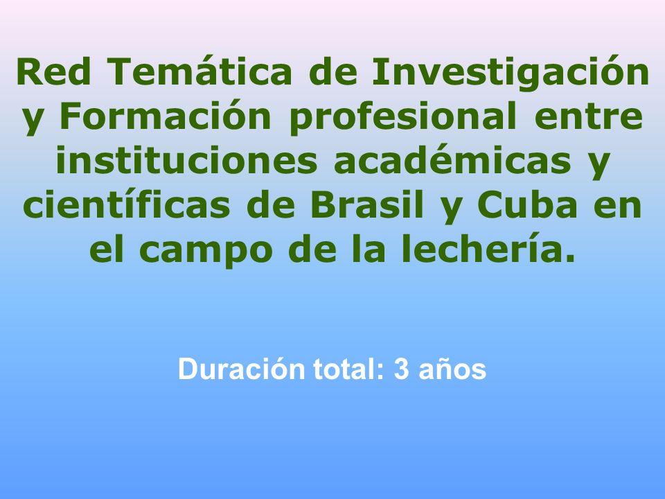Red Temática de Investigación y Formación profesional entre instituciones académicas y científicas de Brasil y Cuba en el campo de la lechería. Duraci