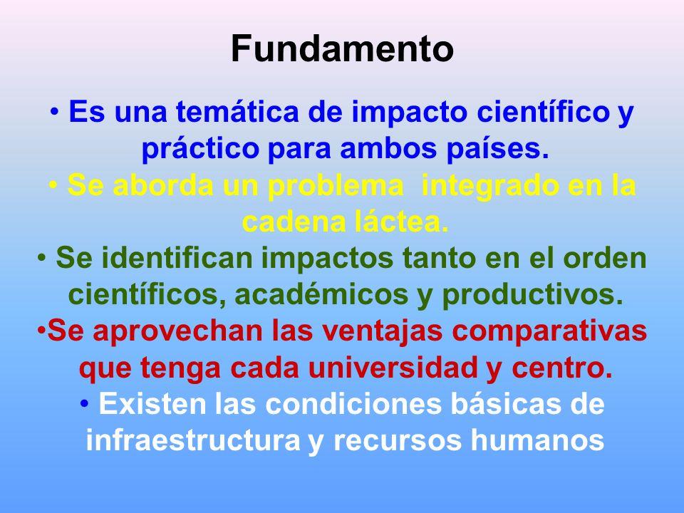 Fundamento Es una temática de impacto científico y práctico para ambos países. Se aborda un problema integrado en la cadena láctea. Se identifican imp
