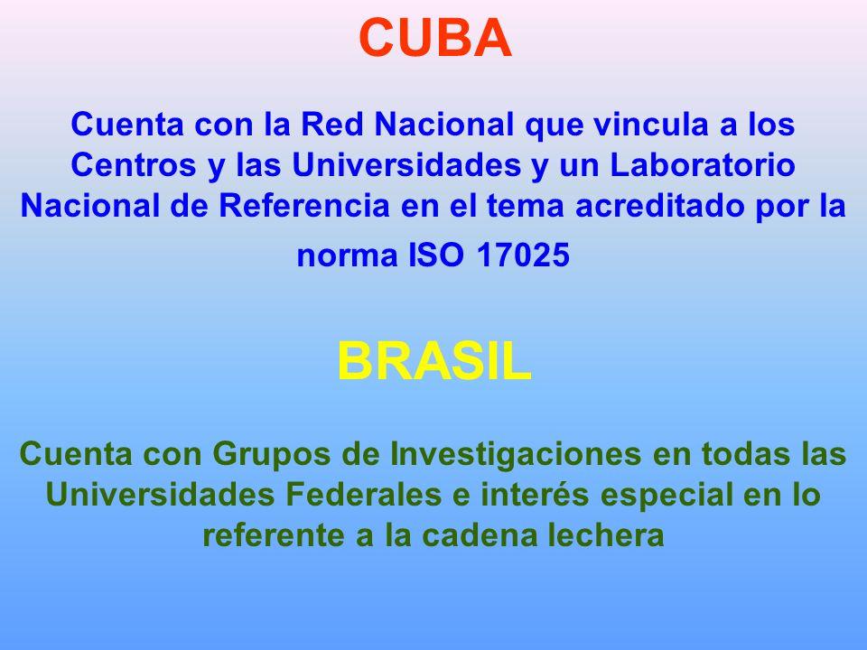 CUBA Cuenta con la Red Nacional que vincula a los Centros y las Universidades y un Laboratorio Nacional de Referencia en el tema acreditado por la norma ISO 17025 BRASIL Cuenta con Grupos de Investigaciones en todas las Universidades Federales e interés especial en lo referente a la cadena lechera