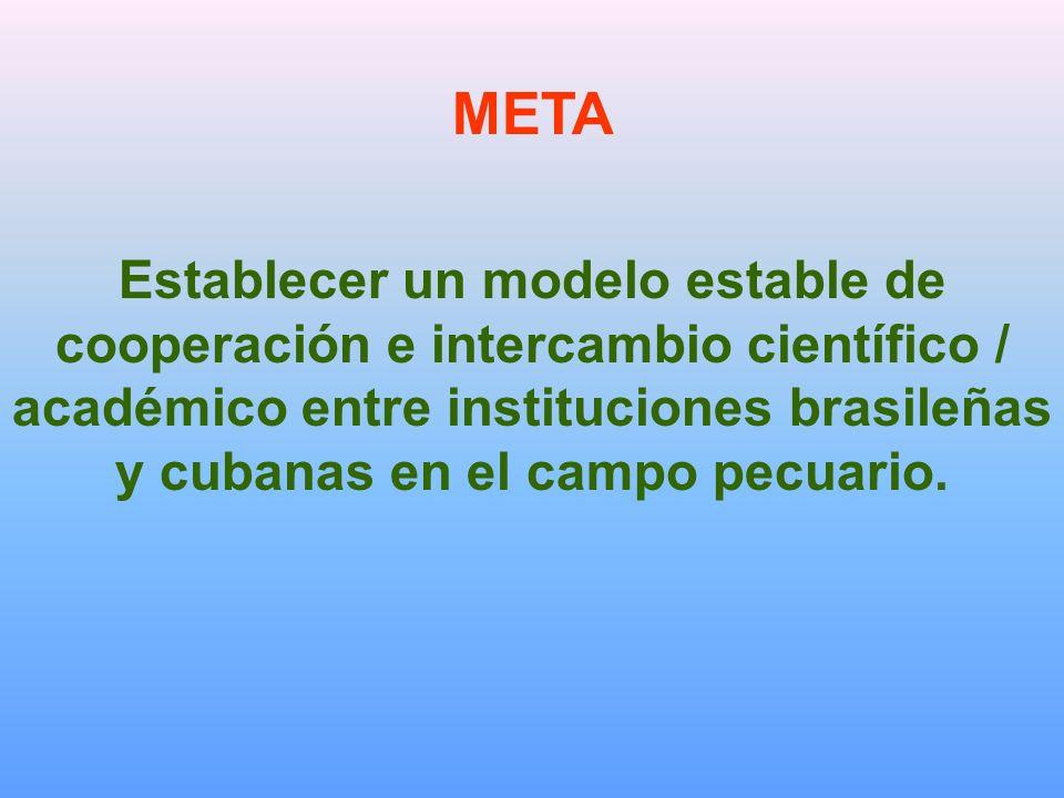 META Establecer un modelo estable de cooperación e intercambio científico / académico entre instituciones brasileñas y cubanas en el campo pecuario.