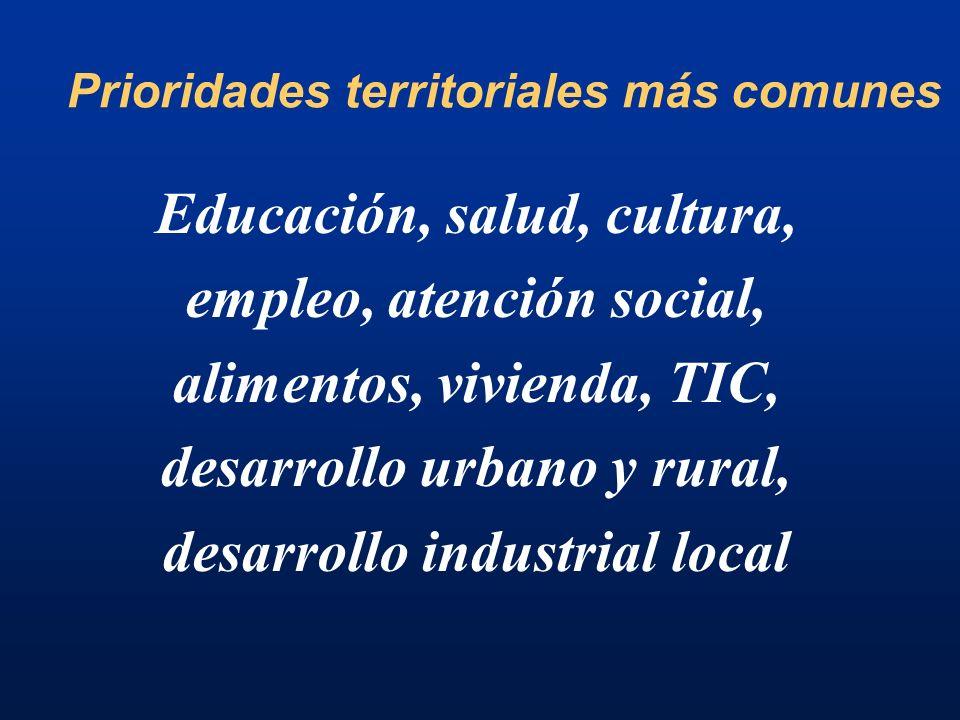 Prioridades territoriales más comunes Educación, salud, cultura, empleo, atención social, alimentos, vivienda, TIC, desarrollo urbano y rural, desarrollo industrial local
