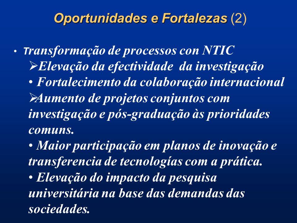 Oportunidades e Fortalezas Oportunidades e Fortalezas (2) T ransformação de processos con NTIC Elevação da efectividade da investigação Fortalecimento da colaboração internacional Aumento de projetos conjuntos com investigação e pós-graduação às prioridades comuns.