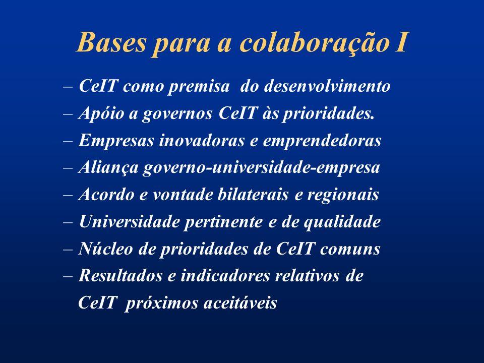 Bases para a colaboração I –CeIT como premisa do desenvolvimento –Apóio a governos CeIT às prioridades.